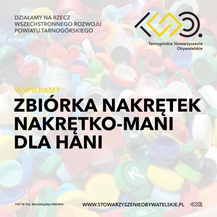 Zbiórka nakrętek Nakrętko-mani dla Hani